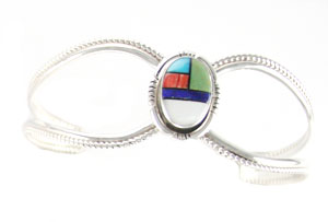 Sterling Silver Open Shank Bracelet with Multi Color Inlay - Navajo Native American Handcrafted - DISCONTINUED