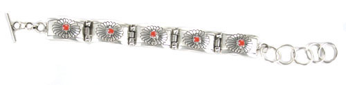 Etched Sterling Silver Link Bracelet with Coral Stones - Navajo Native American Handcrafted - DISCONTINUED