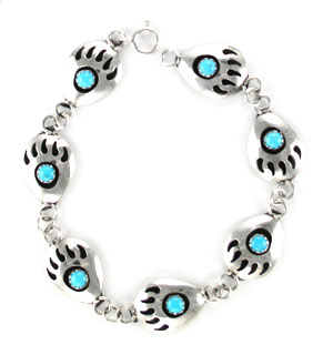 Bear Paw Turquoise Link Bracelet - Navajo Native American Handcrafted - DISCONTINUED