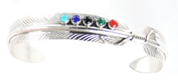 Multi Color Stone Feather Bracelet - Navajo Native American Handcrafted - DISCONTINUED