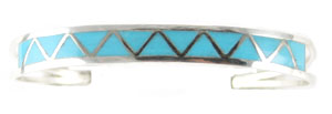 Synthetic Turquoise Zig Zag Inlay Bracelet - Navajo Native American Handcrafted - DISCONTINUED