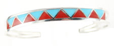 Synthetic Turquoise and Coral Triangle Inlay Bracelet - Navajo Native American Handcrafted - DISCONTINUED