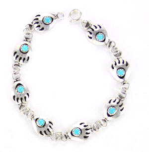 Mini Bear Paw Turquoise Link Bracelet - Navajo Native American Handcrafted - DISCONTINUED