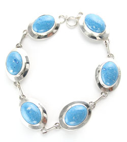Denim Lapis Link Bracelet - Navajo Native American Handcrafted - DISCONTINUED