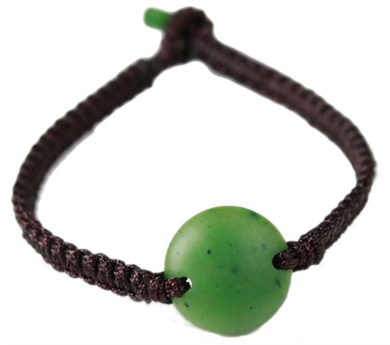 "7"" Jade w/ Braided Brown Cord Bracelet"