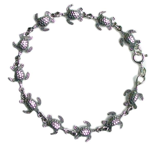 "7.25"" Sea Turtle Link Bracelet Solid .925 Sterling Silver - DISCONTINUED"