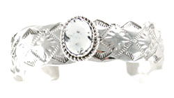 Stamped Sterling Silver Bracelet with White Buffalo Stone - Navajo Native American Handcrafted - DISCONTINUED