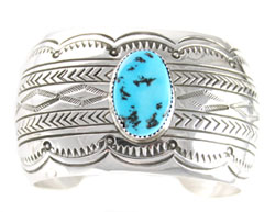 Wide Stamped Sterling Silver Bracelet with Turquoise Stone - Navajo Native American Handcrafted - DISCONTINUED