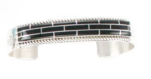 Black Onyx Inlay Bracelet - Navajo Native American Handcrafted - DISCONTINUED