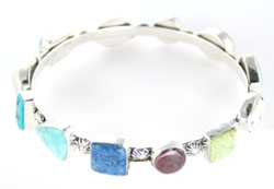 Multi Stone Bangle Bracelet - Navajo Native American Handcrafted - DISCONTINUED