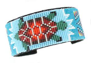 Multi Colored Beaded Leather Bracelet with Turtle or Horse - Navajo Native American Handcrafted - DISCONTINUED