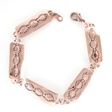 Five Link Stamped Copper Bracelet - Navajo Native American Handcrafted - DISCONTINUED