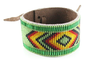 Beaded Wide Leather Bracelet - Navajo Native American Handcrafted - DISCONTINUED