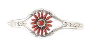 Sterling Silver Coral Flower Bracelet - Zuni Native American Handcrafted - DISCONTINUED