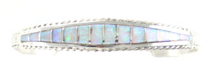 Sterling Silver Tapered Bracelet with Synthetic Opal Inlay - Zuni Native American Handcrafted - DISCONTINUED