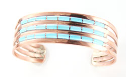 Copper 4-Row Turquoise Inlay Bracelet - Navajo Native American Handcrafted - DISCONTINUED