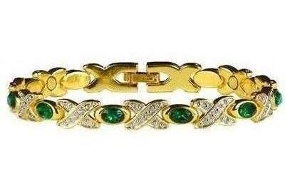 Simulated Emerald (May) - Magnetic Therapy Bracelet (BS-5)
