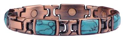 Copper (Simulated) Turquoise Dream - Magnetic Therapy Bracelet (CL-16)