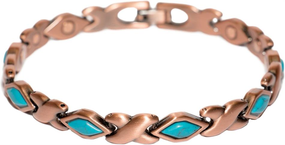 Copper (Simulated) Turquoise XOXO - Magnetic Therapy Bracelet (CL-17)