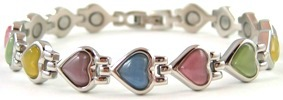 Mixed Color Heart Simulated Gemstone - Stainless Steel Magnetic Therapy Bracelet (CSS-301) - DISCONTINUED