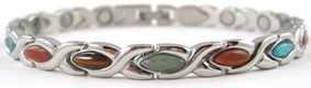 XOXO Simulated  Gemstone - Stainless Steel Magnetic Therapy Bracelet (CSS-302) - DISCONTINUED
