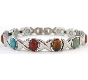Elegant XOXO Simulated Gemstone - Stainless Steel Magnetic Therapy Bracelet (CSS-303)
