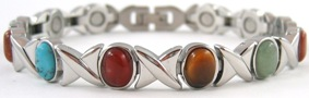 Elegant XOXO Simulated Gemstone - Titanium Magnetic Therapy Bracelet (CTT-303) - NEW!
