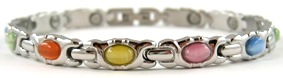 Simply Stylish Simulated Gemstone - Stainless Steel Magnetic Therapy Bracelet (CSS-306)