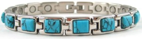 Classic Simulated Turquoise Gemstone - Stainless Steel Magnetic Therapy Bracelet (CSS-307) - DISCONTINUED