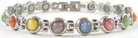 Classic Mixed Simulated Gemstone - Stainless Steel Magnetic Therapy Bracelet (CSS-309)