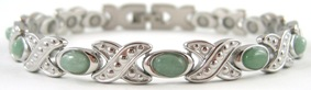 Simulated Green Aventurine Gemstone - Stainless Steel Magnetic Therapy Bracelet (CSS-310) - DISCONTINUED
