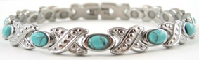 Fancy Simulated Turquoise XOXO - Stainless Steel Magnetic Therapy Bracelet (CSS-312) - DISCONTINUED