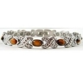 Fancy Simulated Tiger Eye XOXO - Stainless Steel Magnetic Therapy Bracelet (CSS-313)