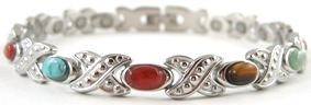 Fancy Mixed XOXO - Stainless Steel Magnetic Therapy Bracelet (CSS-314) - DISCONTINUED
