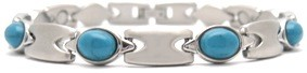 Blue and Silver - Stainless Steel Magnetic Therapy Bracelet (CSS-318)
