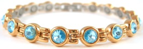 Aqua Swarovski Crystals - Stainless Steel Magnetic Therapy Bracelet (CSS-401) - DISCONTINUED