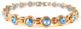 Blue Swarovski Crystals - Stainless Steel Magnetic Therapy Bracelet (CSS-402) - DISCONTINUED