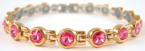 Pink Swarovski Crystals - Stainless Steel Magnetic Therapy Bracelet (CSS-403) - DISCONTINUED