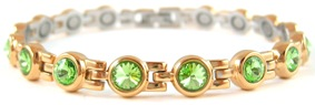 Green Swarovski Crystals - Stainless Steel Magnetic Therapy Bracelet (CSS-405) - DISCONTINUED