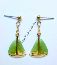 Jade Sailboat Earrings (E0218) - DISCONTINUED