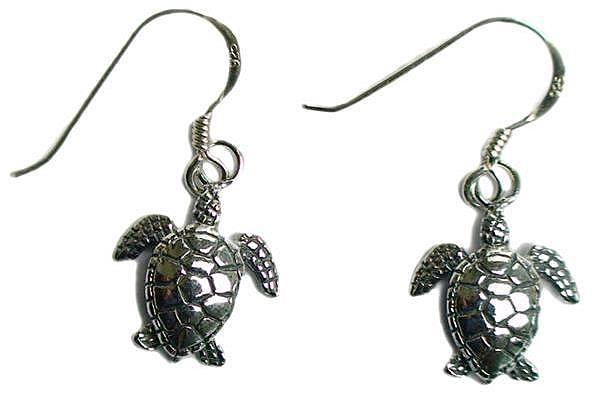 Sea Turtle Dangle Earrings Sterling Silver