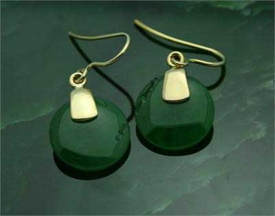 Polar Jade Smooth Circle Drop Earrings (EH0056)