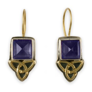 14K Gold, Sterling Silver & Amethyst Knot Earrings w/ 14K Gold Wire
