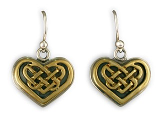 14K Gold & Sterling Silver Heart Knot Earrings w/ 14K Gold Wire - DISCONTINUED