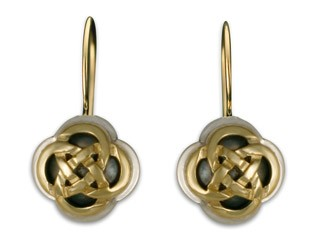 14K Gold & Sterling Silver Sita Knot Earrings w/ 14K Gold Wire