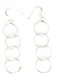 Dainty 4-Round Loop Earrings with Sterling Wires - Navajo Native American Handcrafted - DISCONTINUED
