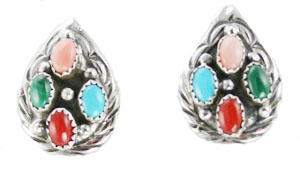 Multi Stone Teardrop Post Earrings - Navajo Native American Handcrafted - DISCONTINUED