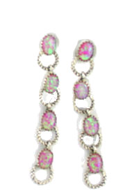 Sterling Silver Twist Wire Link Earrings with Synthetic Pink Opal - Navajo Native American Handcrafted - DISCONTINUED