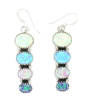 Multi Color Synthetic Opal Dangle Earrings - Navajo Native American Handcrafted - DISCONTINUED