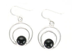 Sterling Silver Wire Loop Earrings with Black Onyx Stone - Navajo Native American Handcrafted - DISCONTINUED